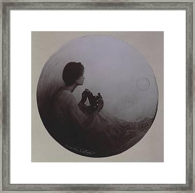 Woman Seated With Kodak Camera Framed Print