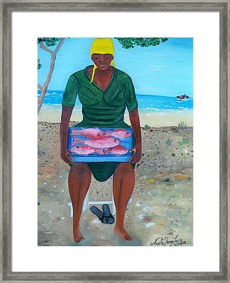Framed Print featuring the painting Woman Selling Red Snapper by Nicole Jean-louis