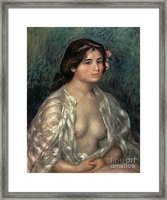 Woman Semi Nude Framed Print by Pierre Auguste Renoir