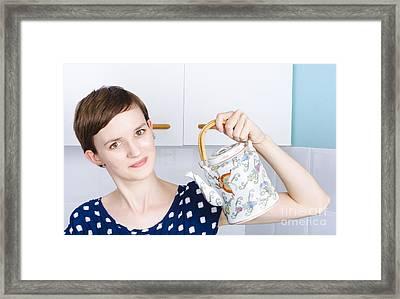 Woman Serving Asian Tea Through Oriental Teapot Framed Print