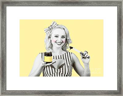Woman Serving Retro Product. Vintage Advertisement Framed Print by Jorgo Photography - Wall Art Gallery