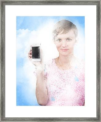 Woman Showing Mobile Smartphone In Clouds Framed Print by Jorgo Photography - Wall Art Gallery
