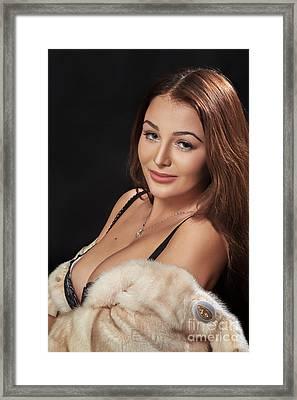 Woman Shows Big Breast Framed Print by Aleksey Tugolukov
