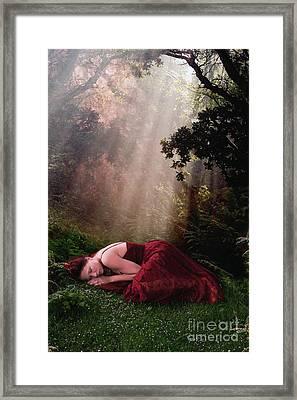 Woman Sleeping In Sunbeams Framed Print by Clayton Bastiani