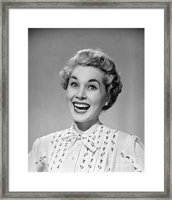 Woman Smiling Ecstatically, C.1950s Framed Print
