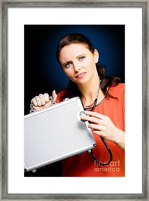 Woman Smiling While Conducting Business Review Framed Print by Jorgo Photography - Wall Art Gallery