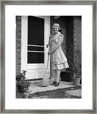 Woman Smiling With Broom, C.1940s Framed Print