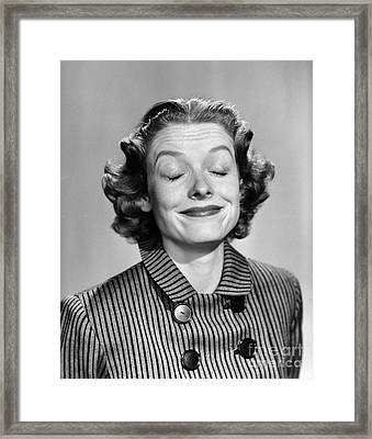 Woman Smiling With Eyes Closed Framed Print