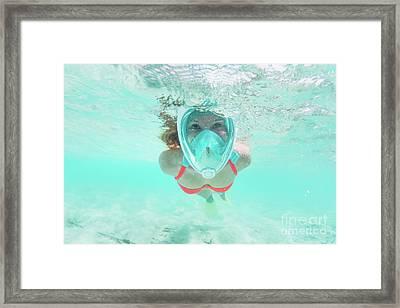 Woman Snorkeling Underwater In Indian Ocean, Maldives Framed Print