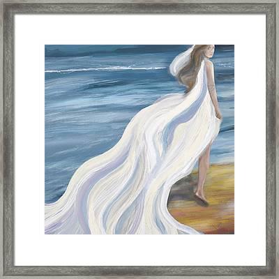 Woman Strolling On The Beach Framed Print