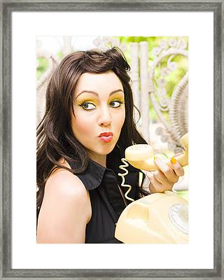 Woman Talking On Old Phone Framed Print