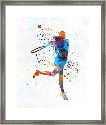 Woman Tennis Player 03 In Watercolor Framed Print by Pablo Romero