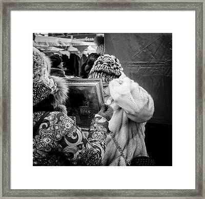 Woman The Mirror And Her New Hat Framed Print
