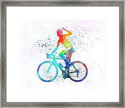 Woman Triathlon Cycling 03 Framed Print