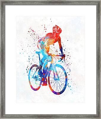 Woman Triathlon Cycling 06 Framed Print by Pablo Romero