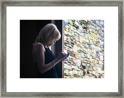 Woman Using A Smart Phone, Blackstairs Framed Print