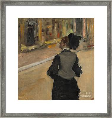 Woman Viewed From Behind, Visit To The Museum Framed Print by Edgar Degas