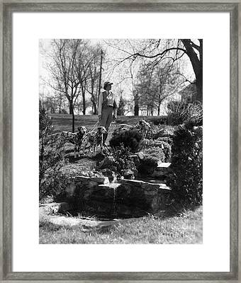 Woman Walking Dalmatians, C.1930s Framed Print by H. Armstrong Roberts/ClassicStock