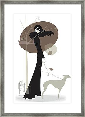 Woman Walking Dog Framed Print by Lisa Henderling