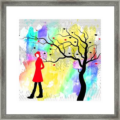 Woman Walking In Blustery Fall Rain With Colorful Watercolor Background Framed Print by Serena King