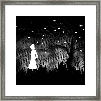 Woman Walking In Blustery Fall Scene - Black And White Framed Print