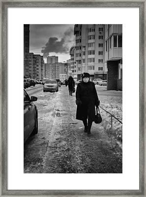 Woman Walking On Path In Russia Framed Print