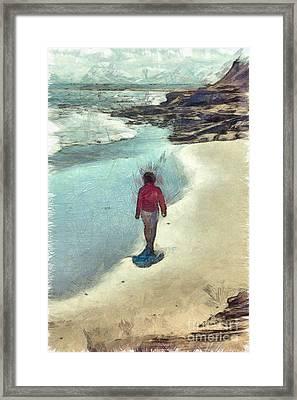 Woman Walking On The Beach Pei Framed Print