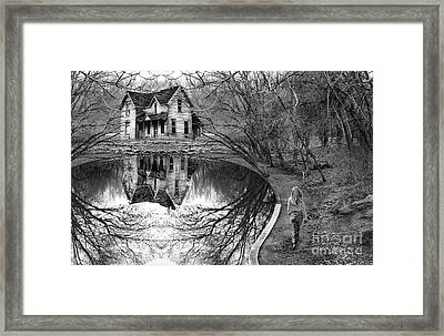 Woman Walking To Old House Framed Print