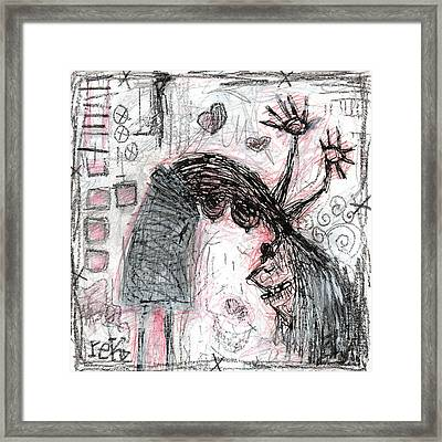 Woman Walking Upside Down Framed Print