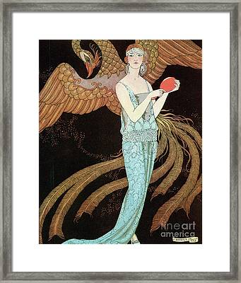 Woman Wearing A Blue Dress With A Phoenix Framed Print by Mary Evans Picture Library
