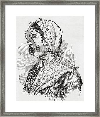 Woman Wearing A Derbyshire Brank Or Framed Print by Vintage Design Pics