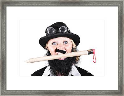 Woman Wearing Bowler Hat Holding A Pencil In Mouth Framed Print by Jorgo Photography - Wall Art Gallery