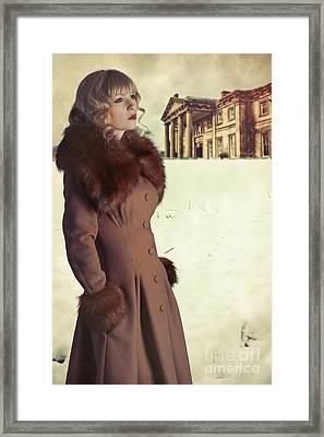 Woman Wearing Fur Trimmed Coat Framed Print