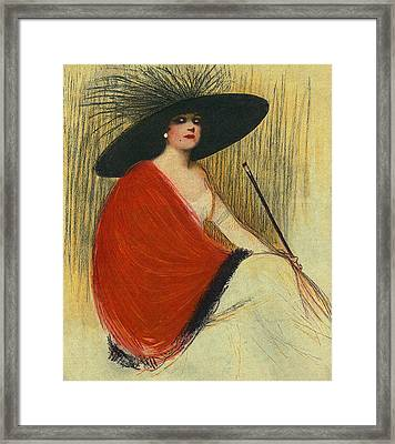Woman Wearing Hat Framed Print