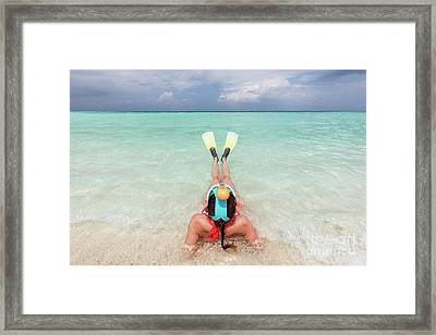 Woman Wearing Snorkeling Mask And Fins Ready To Snorkel In The Ocean, Maldives. Framed Print