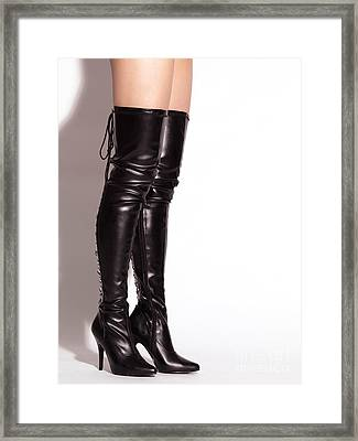 Woman Wearing Thigh-high Boots Framed Print by Oleksiy Maksymenko
