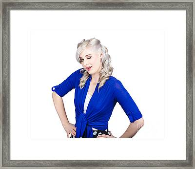 Woman Winking Eye In Lashes. Retro Makeup Style Framed Print by Jorgo Photography - Wall Art Gallery