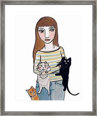 Woman With 3 Cats  Framed Print