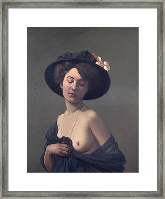 Woman With A Black Hat Framed Print