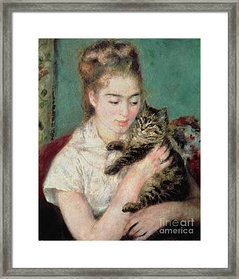 Woman With A Cat Framed Print by Pierre Auguste Renoir