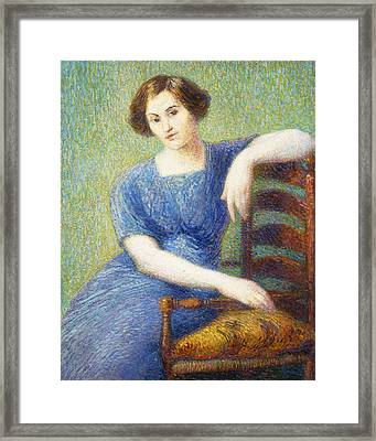 Woman With A Chair Framed Print
