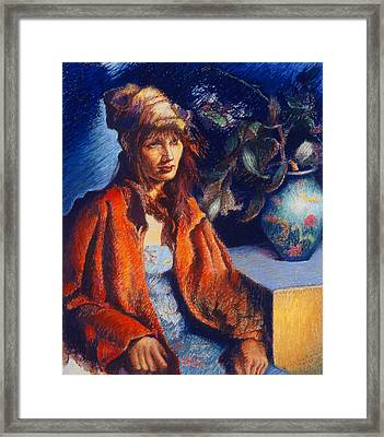 Woman With A Chinese Vase Framed Print