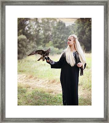 Woman With A Falcon By Iuliia Malivanchuk Framed Print by Iuliia Malivanchuk