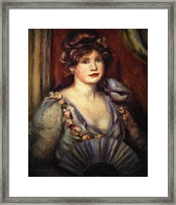 Woman With A Fan After Renoir Framed Print by Georgiana Romanovna