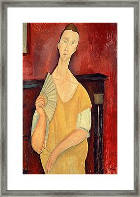 Woman With A Fan Framed Print by Amedeo Modigliani