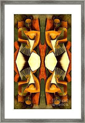Woman With A Fan X4 Framed Print