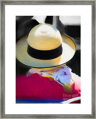 Woman With A Hat And Scarf Framed Print