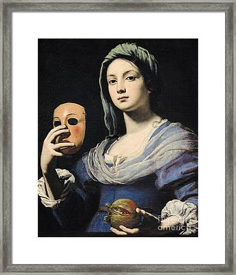 Woman With A Mask Framed Print by Lorenzo Lippi