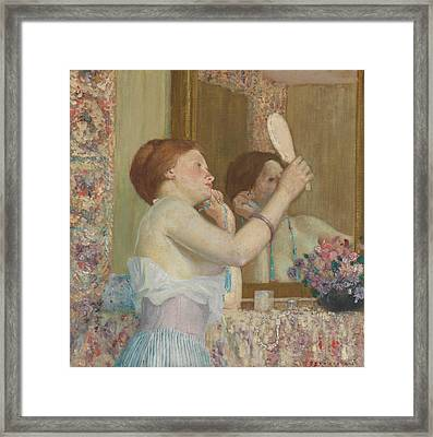 Woman With A Mirror Framed Print by Frederick Carl Frieseke