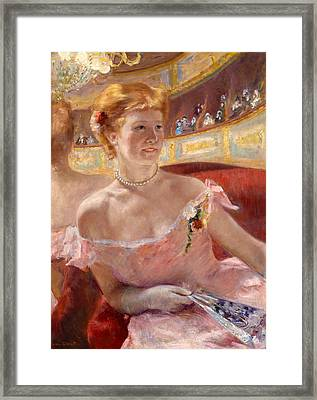 Woman With A Pearl Necklace In A Loge Framed Print